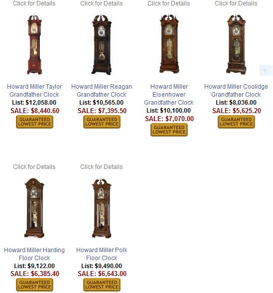 Howard Miller Presidential Grandfather Clocks
